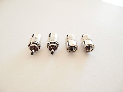 4 x PL259 UHF Connector Plugs For RG213 Coaxial Cable