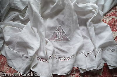 """Pure linen fil dowry sheet, hand embroidered HT monogram, king size at 96"""""""