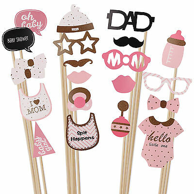 20pcs Baby Shower Photo Booth Props New Born Little Lady Girl Party Decorations