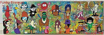 Large unique & original graffiti canvas wall art by Nickos ~ Cool funky painting