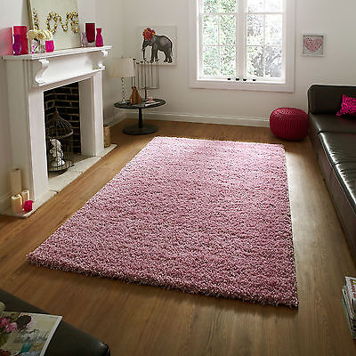 Pink Small X Large Modern Quality Rug - Thick 5cm High Shaggy Rugs Runner Circle