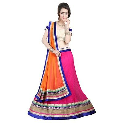 Designer Bollywood Ethnic Magenta Colored Border Worked Net Indian Lehenga Choli