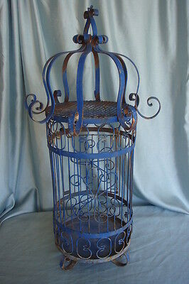 Vtg Ornate Shabby Metal Birdcage Chippy Blue Wedding Decor Prop Repurposed Light
