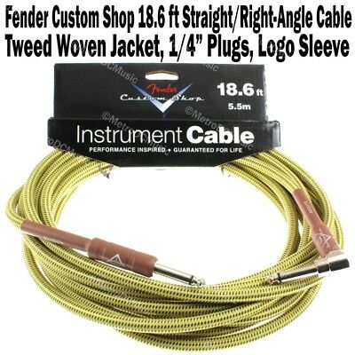 FENDER Custom Shop 18.6 ft Tweed Right Angle Instrument Guitar Cable Bass NEW