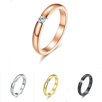 3mm Black/Gold/Rose Gold/Silver CZ Band Men Womens Titanium Steel Ring Size 5-11