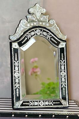 DUSX Venetian Arched Black & Clear Bevelled Table or Wall Mirror 30 x 50cm