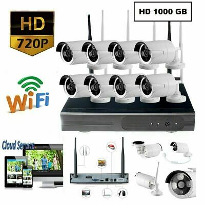 Kit Videosorveglianza Wireless Dvr Nvr 8 Canali 8 Telecamera Wireless + Hd 1Tb
