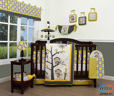 15PCS Monkey Go Happy Baby CRIB BEDDING SET -Including Mobile and Lamp SHADE