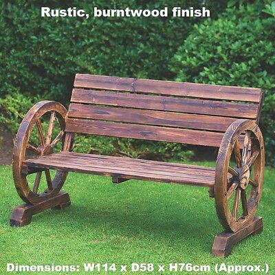 Hand finished Stylish Garden Rustic Wagon Wheel Bench 2 Seater outdoor Use