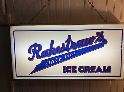 Rare Vintage Lighted Advertising Sign - Rakestraw's Ice Cream Since 1903