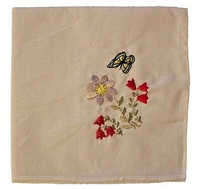 HANDKERCHIEF LADIES - Ladies White Handkerchief Embroidered with Flowers