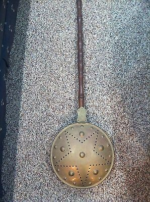 Antique Primitive Copper Lined Brass Bed Warmer with Wooden Handle
