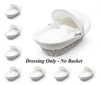 Dimple White Moses Basket 4 Piece Dressing Set No Basket Included
