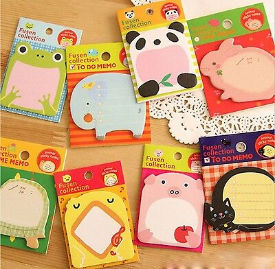 Witkey 8 Packs Zoon Animal Sticky Notes Post-it Notes Memo Pads
