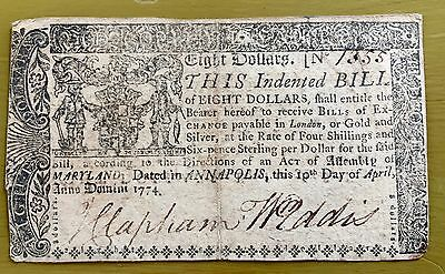 Maryland $8 Eight Dollar Note April 10, 1774 Colonial Currency