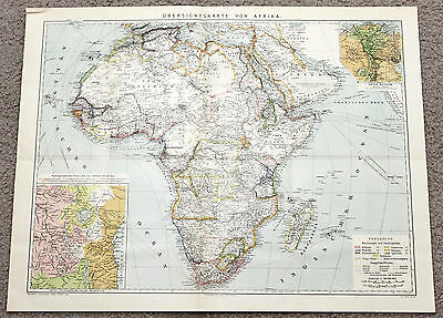 1887 Africa Map Steamship Routes British Possessions Sahara Desert Congo State