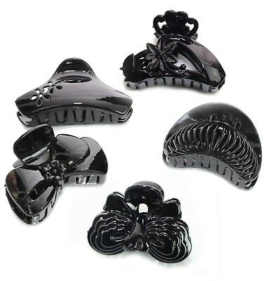 LADIES/GIRLS Curved Clip Claw Jaw Butterfly Bull Dog BLACK Crocodile HAIR CLAMP