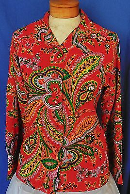 Lady Arrow 70s Red Paisley vntg blouse long sleeve pointy collar button up sz 10