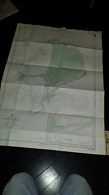 Antique Vintage   US Navy  Nautical Chart   Aeronautical Map   Funafuti Atoll  b