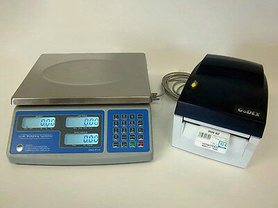 SWS-PCS-60, 60 lb  Price Computing Scale-lbs,kgs,ozs w/Godex DT4 Barcode Printer