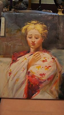 Oil Painting HD Art Print on Canvas of a Girl, Signed