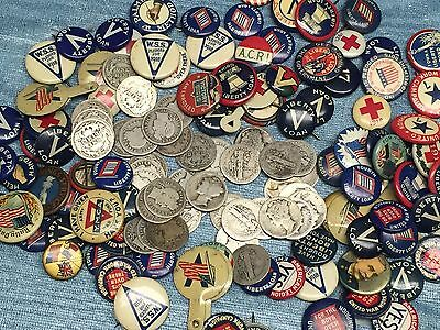 5 DIFFERENT  PIN BACKS PINBACKS FROM WWI WW1+Barber & Mercury WWI SILVER COINS#5