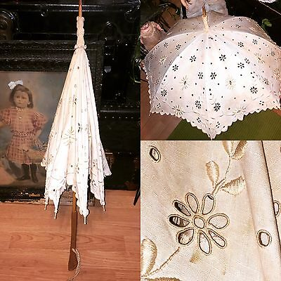 Antique Victorian Edwardian Ivory Eyelet Lace Parasol Carved Wood Handle