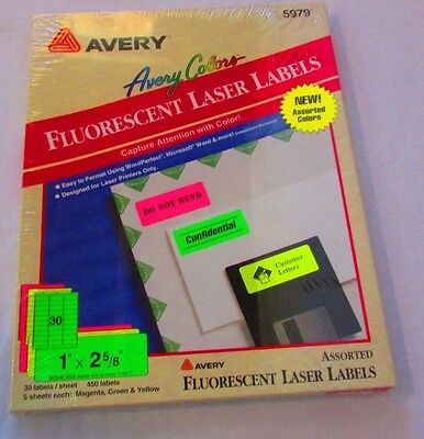"Avery 5979 Assorted Fluorescent Laser Labels 1"" x 2 5/8"" 450 Labels"