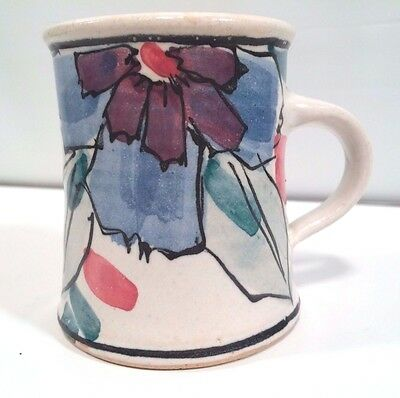 Vintage Thrown Ceramic Pottery Stoneware Floral Abstract Art Mug Blue Signed