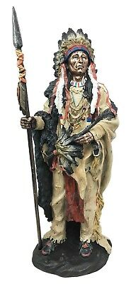 Native American Indian Chief In Animal Coat & Headdress Resin Statue Figurine