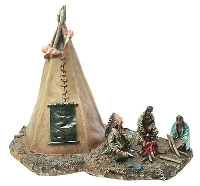 Native American Indian Building Fire by Tent Figurine LED Light Resin Statue