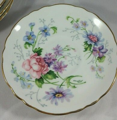 "4 Saucers -Crown Staffordshire- ""england's Glory"" Exc. Gently Used. Beautiful!"