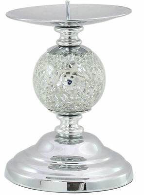 Silver Mosaic Sparkle One Ball Candlestick Decorative Candle Holder