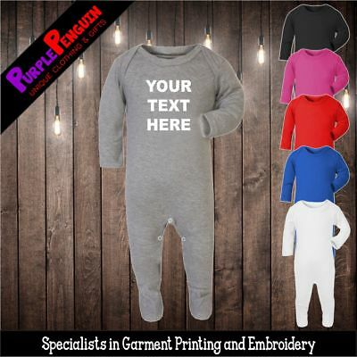 Sleep Suit - Personalised Custom Text Baby Grow Romper Gift Present Shower Plain