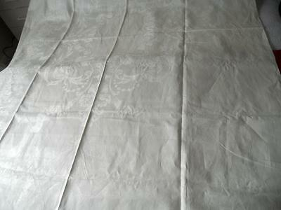 "Vintage White Damask Linen Table Cloth Flowers Scrolls Ribbon Swags 54"" X 79"""