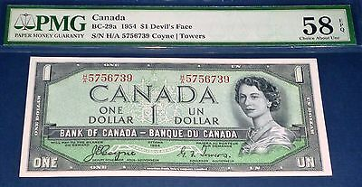 H/A Prefix . DEVILS FACE Bank of Canada 1954 $1 , PMG 58 Coyne - Towers
