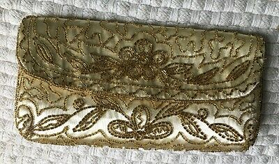 Vintage  Beaded Satin French Gold  Purse Handbag Pouch Bag Miami Fla Imported