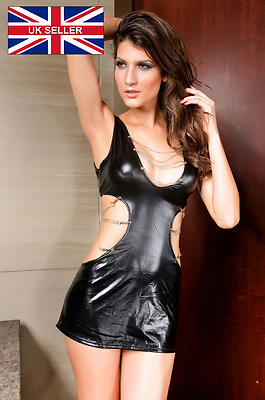 Black Wet Look Dress,cut Out Sides, Chains Back+Side,fetish, Bondage,one Sz 8-12