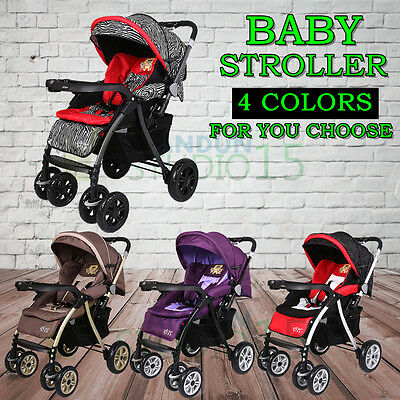 4 Colors Baby Carriage Stroller Pushchair Pram Easy Foldable Portable Travel AU
