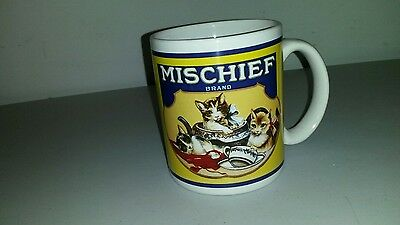 Mischief Brand Ceramic Graphic Mug W/Mischievous Cute Kittens