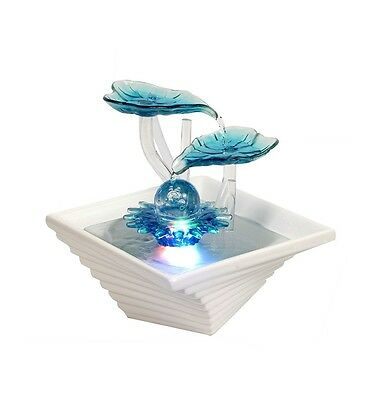 Turquoise Petals, Small indoor table top Water fountain