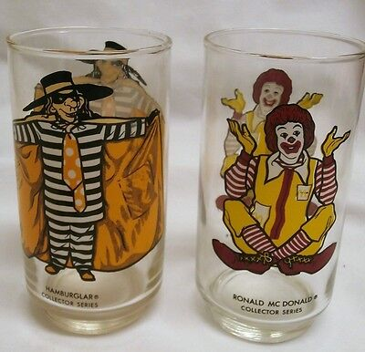 Vintage McDonald's ~ Ronald McDonald Hamburglar Collector Series Glass lot of 2