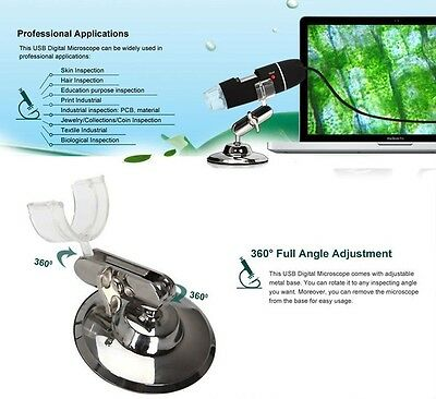 2MP 1000X 8LED USB Portable Digital Microscope Endoscope Zoom Camera +Stand US