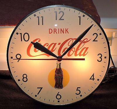 Rare Antique Coca Cola Bubble Glass advertising Clock Sign !!