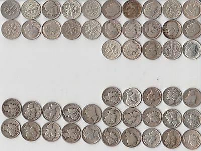 $5 Face Value (50) 90% Silver Dimes 25 Roosevelt & 25 Mercury Circulated