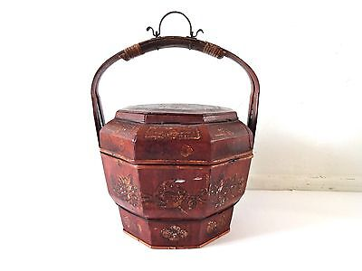 Vintage Antique Chinese Red Lacquer Wedding  Marriage Basket