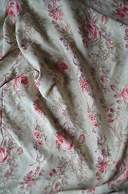 Antique French floral curtain panel roses, greens and fuschia pinks
