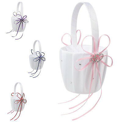 Double Heart Wedding Flower Girl Basket White Satin Rhinestone Décor V9E6
