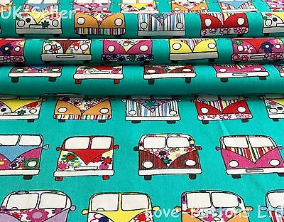 Rose And Hubble Mint Vw Style Campervan Fabric 100% Cotton Fat Quarters