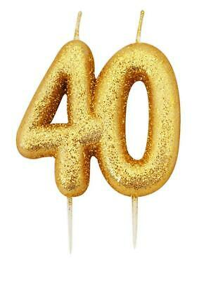 Gold Glitter Numeral Moulded Cake Candle - No 40